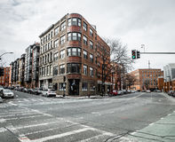 Commercial Street in The North End district of Boston in Winter Royalty Free Stock Photo