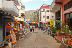 Commercial Street in Tai O Village stock photo