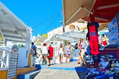 Commercial Street Tourist Attraction Fira Santorini Greece Royalty Free Stock Photo