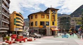 Commercial streets in Andorra la Vella Stock Image
