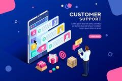 Commercial Support Customer Transacrion Editable Banner stock illustration