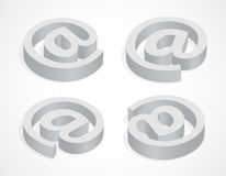Commercial at. Symbol commercial at, four colorless icons, 3d illustration Stock Photography