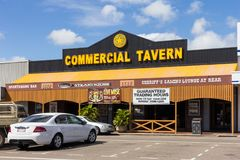 The Commercial Tavern. Ayr, Australia - 26th May 2015: The Commercial Tavern, Queen street. The tavern has a gaming loungs and restaurant royalty free stock image