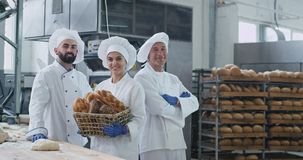 Commercial three bakers attractive faces portrait in a big bakery industry smiling large and looking straight to the. Camera holding a vintage basket with stock video