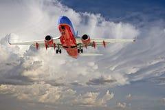 Commercial Travel Passenger Jet Landing. Commercial passenger jet approaches Sky Harbor Airport in Phoenix, AZ, USA, for landing Stock Image