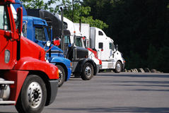 Commercial Trucks at rest area Stock Photo