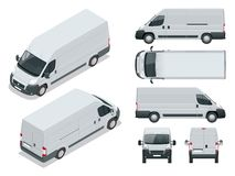 Commercial vehicle. Logistic car. Cargo minivan on white background. Front, rear, side, top and isometry front. Commercial vehicle Logistic car Cargo minivan on stock illustration