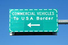 Commercial Vehicle USA Border Sign Stock Photos