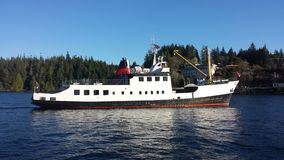 Commercial vessel entering Bamfield Stock Photos