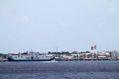 Commercial vessel mexican coastline Royalty Free Stock Photos