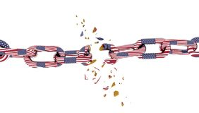 Commercial war china usa ameriaca  flags and chain broken - 3d rendering vector illustration