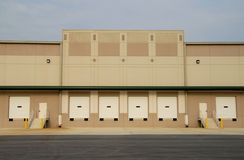 Commercial Warehouse. Loading dock of a new commercial warehouse building royalty free stock photo