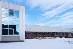 Commercial warehouse in wnter Royalty Free Stock Image