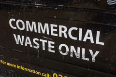 Commercial waste bin close-up. A large black local council commercial waste bin, London, UK Stock Images