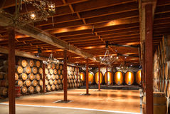 Commercial wine cellar. Winery storage cellar, Napa Valley, California Stock Photo
