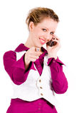 Commercial woman is calling Royalty Free Stock Images