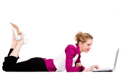Commercial woman with a laptop Stock Photos