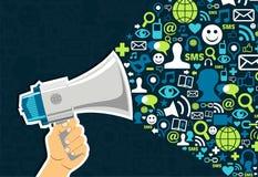 Commercialisation sociale de medias Photo stock