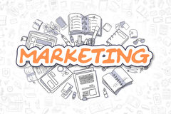 Commercializzazione - testo dell'arancia di scarabocchio Concetto di affari royalty illustrazione gratis