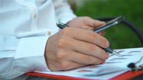 Commerciante Checks Stock Reports archivi video