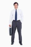 Commerciante con la sua valigia Fotografia Stock Libera da Diritti