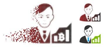 Commerciante di semitono dissipato Icon di Pixelated Bitcoin Illustrazione Vettoriale