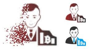 Commerciante di semitono di dissoluzione Icon di Bitcoin del pixel Fotografia Stock Libera da Diritti
