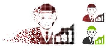 Commerciante di semitono spezzettato Icon di Bitcoin del pixel Illustrazione Vettoriale