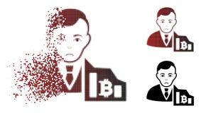 Commerciante di semitono spezzettato infelice Icon di Pixelated Bitcoin Fotografia Stock Libera da Diritti
