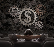 Commerciante o investitore che considera l'illustrazione degli ingranaggi 3d di valute Fotografia Stock