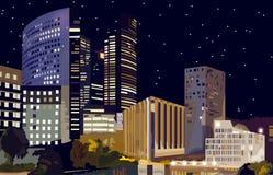 Commercieel centrum bij nachtvector La-Defensie Commercieel centrum in Parijs Frankrijk Mooie verlichte gebouwen bij nachten stock illustratie