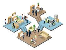 Commercieel centrum met mensen aan het werk in bureaus Vector isometrische illustraties vector illustratie