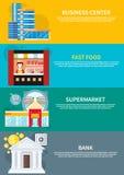 Commercieel centrum, supermarkt, bank, snel voedsel Royalty-vrije Stock Foto