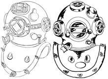Commercieel duik helmen stock illustratie