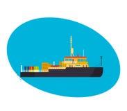Commercieel en passagiersvrachtschip, met lading aan boord stock illustratie