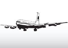 Commercieel lijnvliegtuig tijdens de vlucht royalty-vrije illustratie