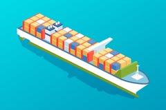 Commercieel, passagiersvrachtschip Overzeese boot met lading aan boord stock illustratie