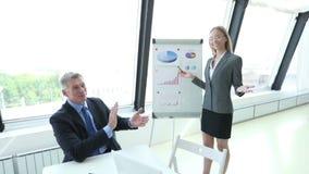 Commercieel team bij presentatie stock videobeelden