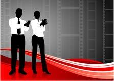 Commercieel team dat de achtergrond van de filmspoel slaat Stock Afbeeldingen