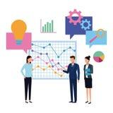 Commercieel team die diagrambeeldverhaal voorstellen stock illustratie