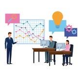 Commercieel team die diagrambeeldverhaal voorstellen royalty-vrije illustratie