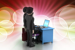 Commercieel team die Laptop bekijken Royalty-vrije Stock Afbeelding