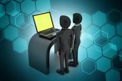 Commercieel team die Laptop bekijken Stock Foto's