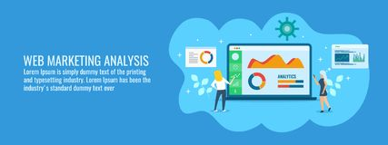 Commercieel team die online marketing gegevens, informatie, het tarief van de publieksovereenkomst, vlakke ontwerp vectorbanner a royalty-vrije illustratie