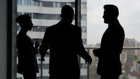 Commercieel team die over project met partner spreken stock footage