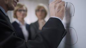 Commercieel team die prioritaire doelstellingen voor bedrijf bespreken en op de raad trekken stock video