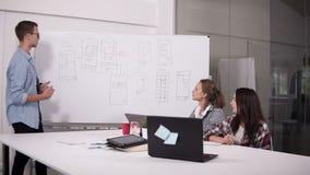 Commercieel team die project of idee bespreken Het gaan liggen, stafmedewerker, startconcept Twee vrouwen die bij bureau en de me stock footage