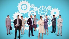Commercieel team die zich tegen radertjesanimatie bevinden vector illustratie