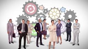 Commercieel team die zich tegen radertjesanimatie bevinden royalty-vrije illustratie