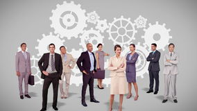 Commercieel team die zich tegen radertjesanimatie bevinden stock illustratie